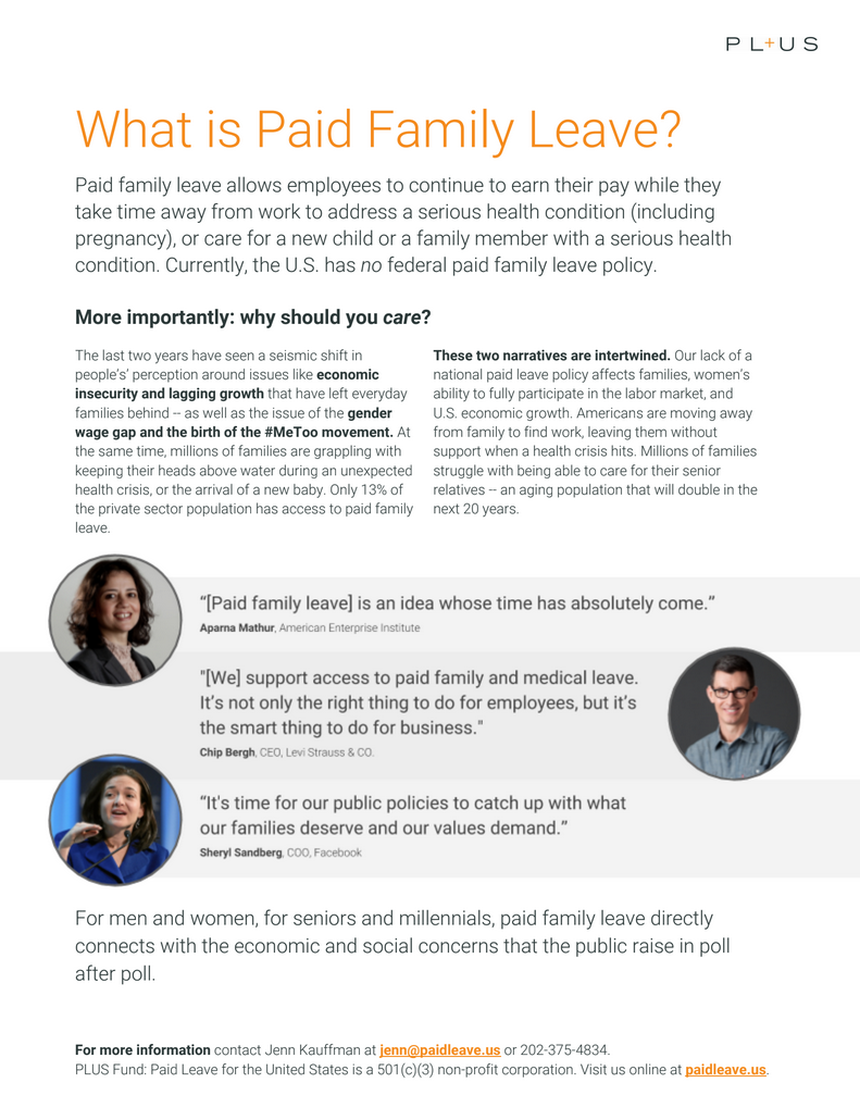 PL+US paid family leave resources and company scorecard